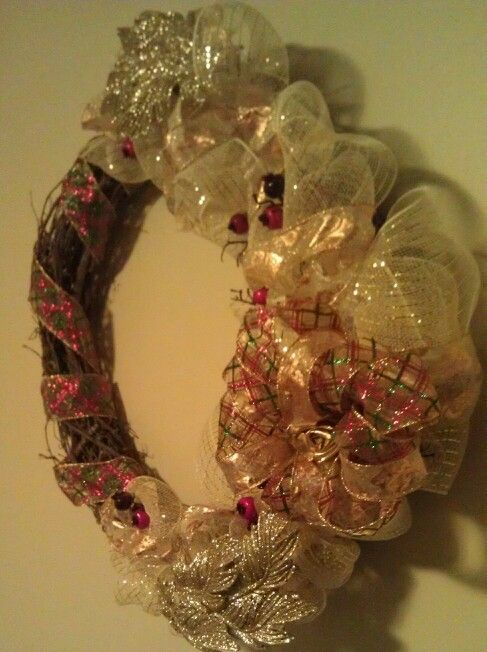 Elegant vintage gold deco mesh wreath, with traditional red and green accents by Coby Michael
