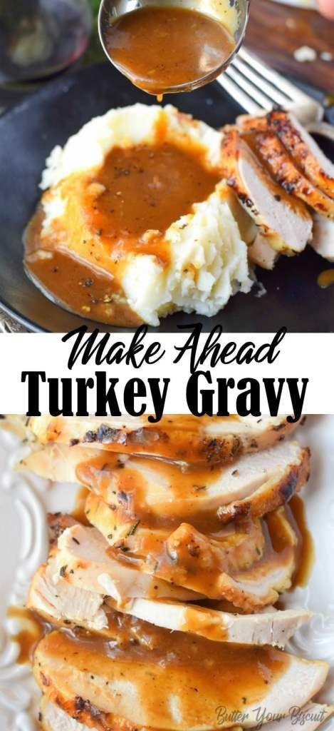 Make Ahead Turkey Gravy Recipe - Butter Your Biscuit #turkeygravyfromdrippingseasy