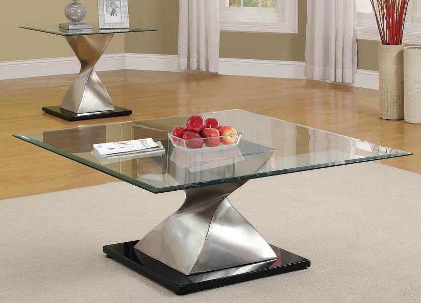 Shelley Chrome Glass Top Coffee/End Table Set 80143Set