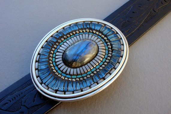 Blue Glass and Silver Belt Buckle
