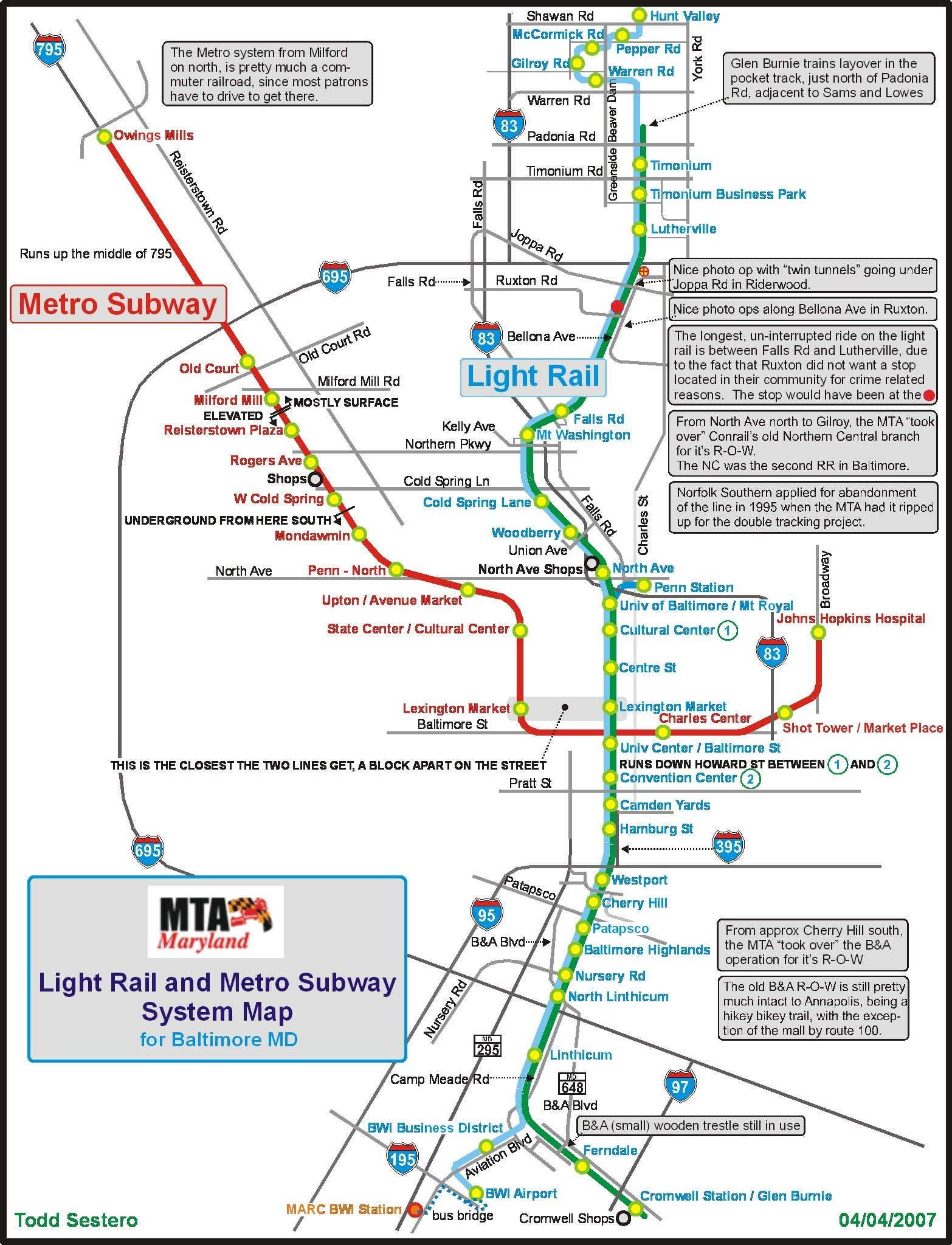 The Baltimore Metro Subway system hereafter called the Baltimore