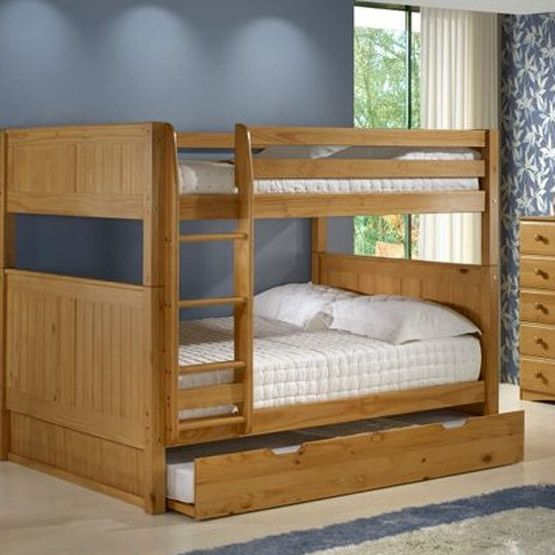 Solid Wood Full Over Full Bunk Bed With Twin Size Trundle Bed In