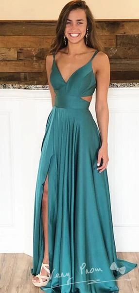 Simple A-Line Deep V-Neck Spaghetti Straps Sleeveless Long Prom Dresses With Slit,VPPD1230
