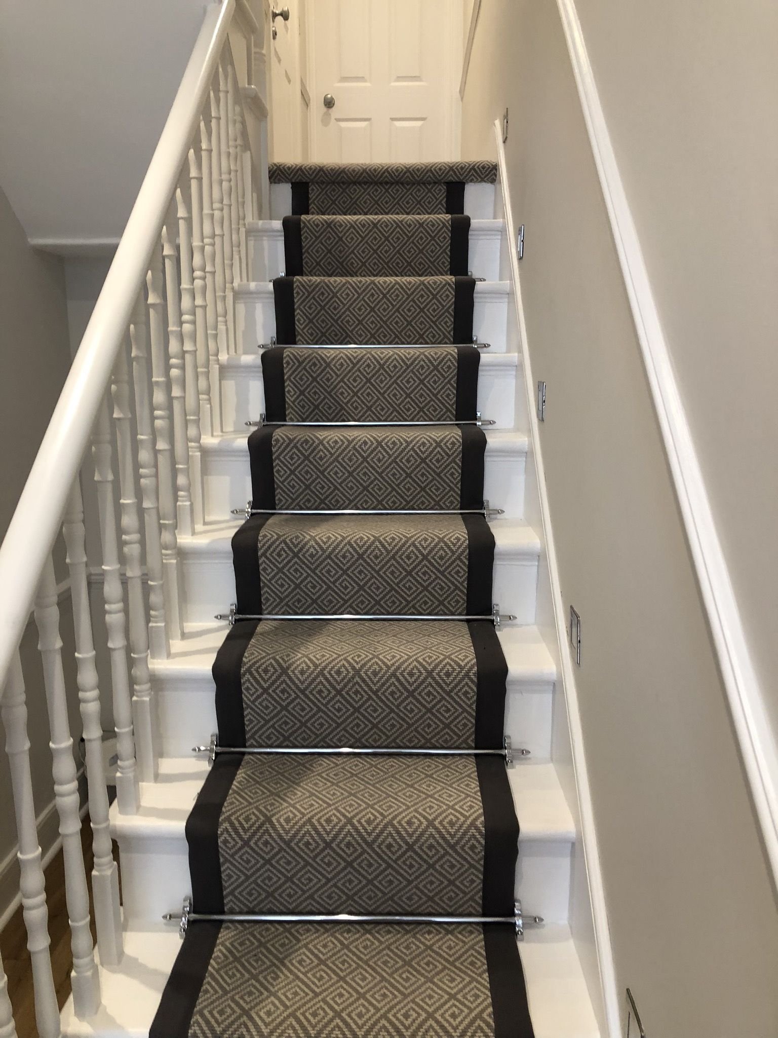 Black Border Stair Runner Installed In Chiswick Carpet
