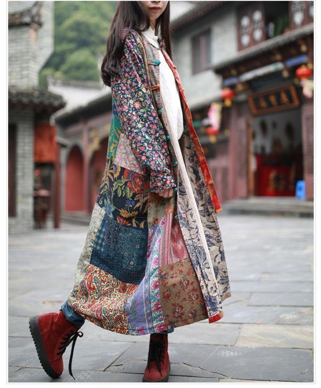 c7a2a2386c New Cotton Art Linen Folk Women Maxi Long Button Floral Loose Retro Dress  Coat