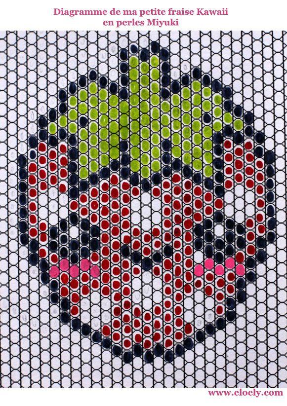 Une petite fraise Hama en perles Miyuki (diagramme à l\'intérieur ...