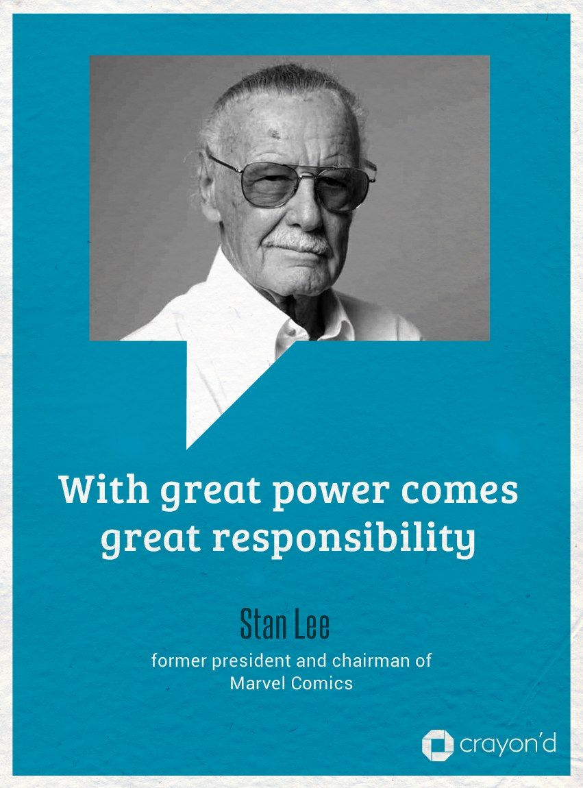 With Great Power Comes Great Responsibility Quote By Stan Lee