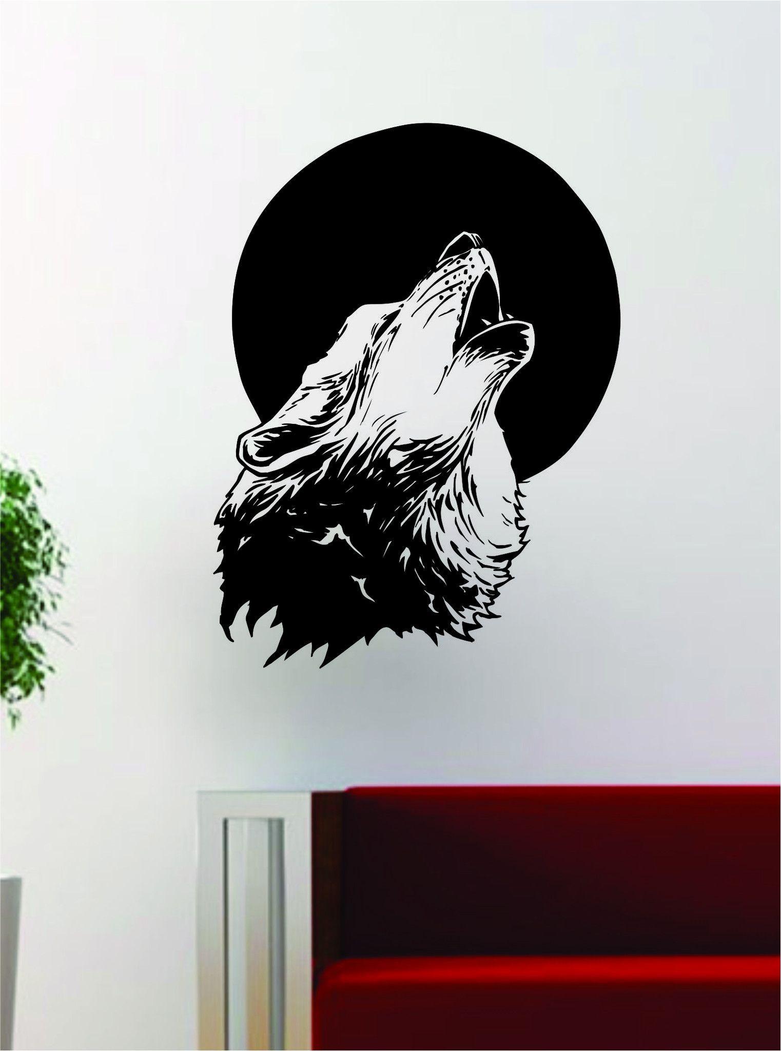 Wall Vinyl Art wolf howling moon design decal sticker wall vinyl art home room