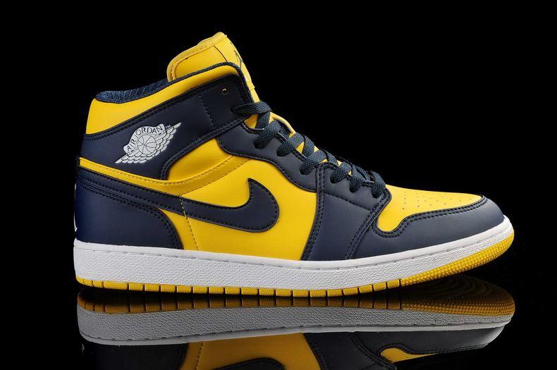 Buy New Air Jordan 1 Navy-Blue/Tour Yellow Shoes Fashion Shoes Shop