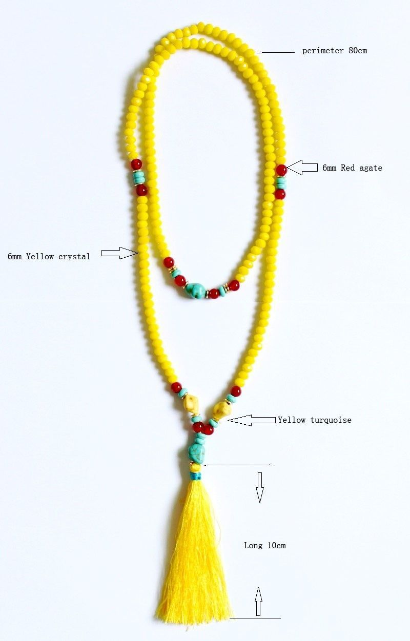 26c2de6b66e987 New design Yellow crystal turquoise beads handmade tassel pendant long  necklace boho style knotted necklace women jewelry-in Pendant Necklaces  from Jewelry ...