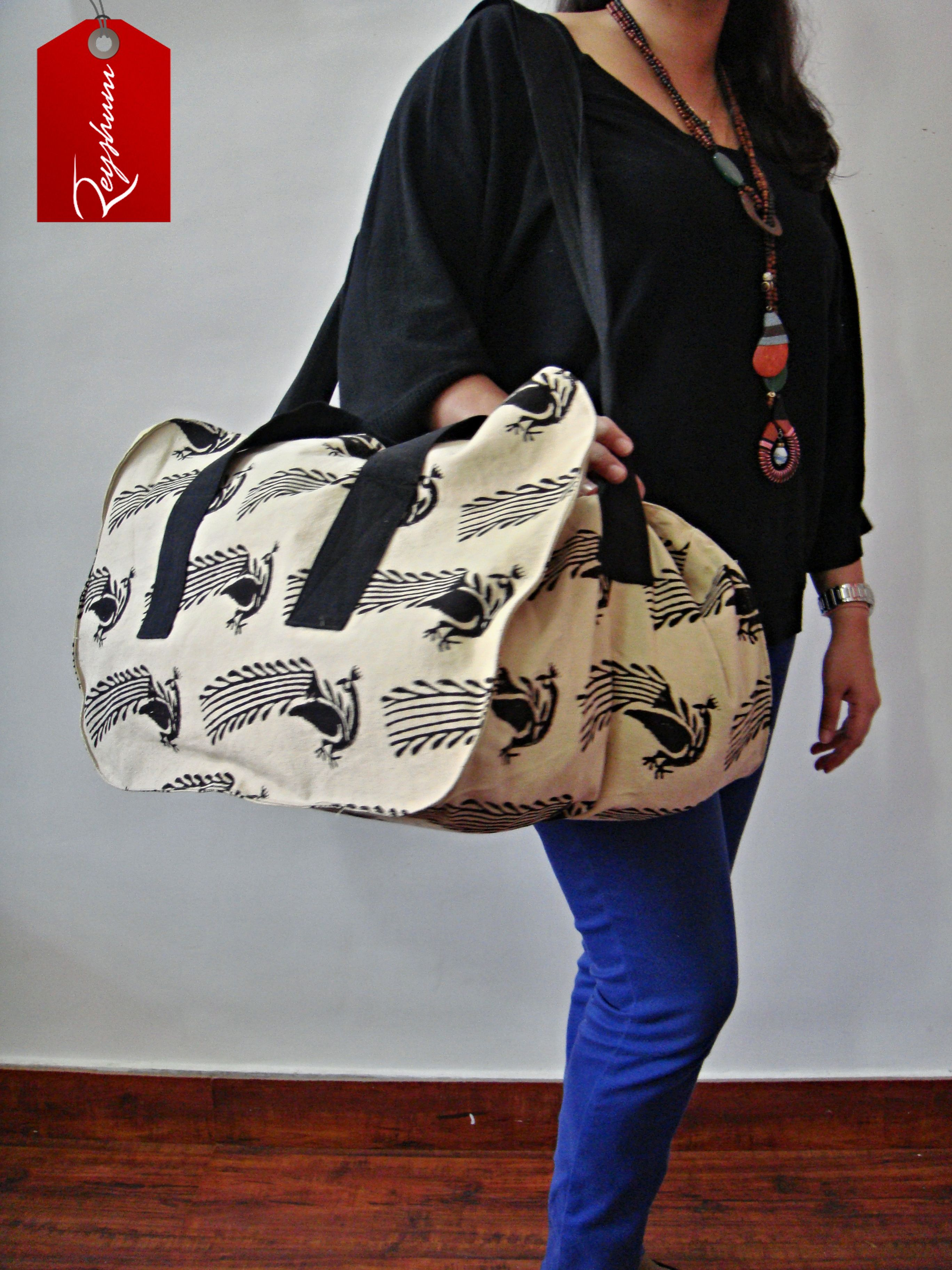 TOP Gift Idea 2014 - Everyday Use Large Bird Motif Block Print Bag -Travel Bag - Large #Weekender Bag @Etsy store etsy.me/1Bgw0kR