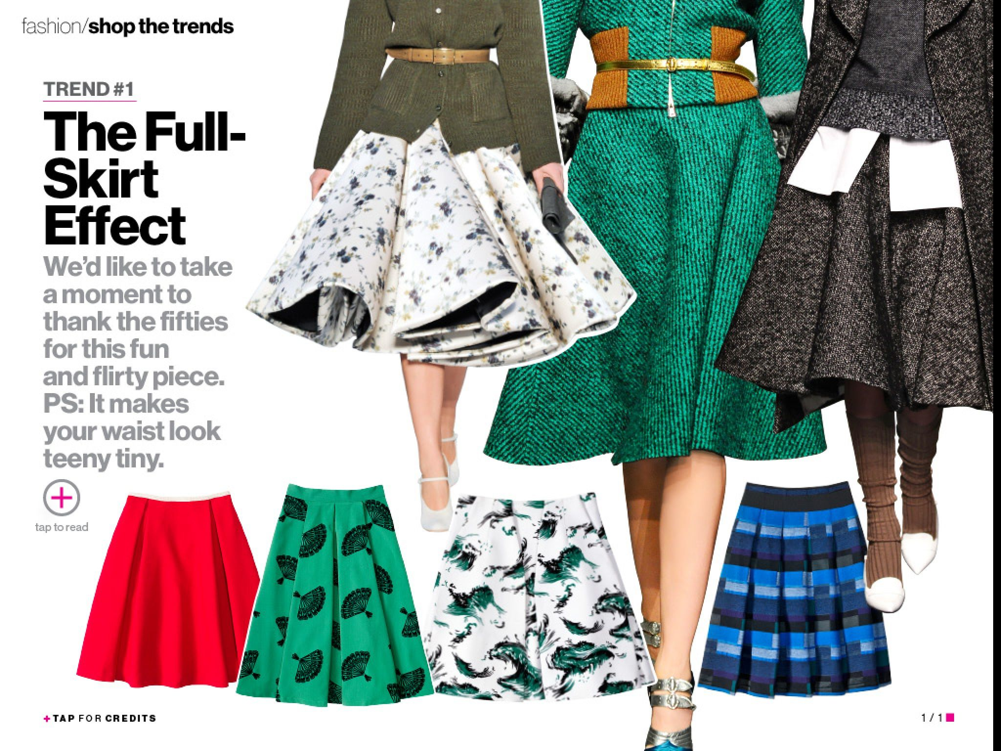 Fall fashion 2013. Full skirts. Glamour magazine. I CAN'T BELIEVE THESE SKIRTS ARE BACK. I LIKE THEM.