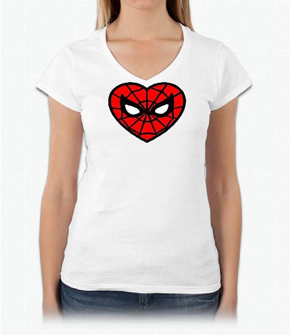 60f5d277a18b Mary Jane Watson Inspired V-Neck Cosplay Spiderman Heart Shirt   Cosplay