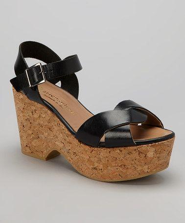 Another great find on #zulily! Black Hayley Leather Platform Wedge #zulilyfinds