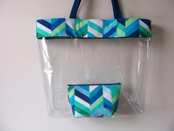 Large Clear Transparent Vinyl Tote Bag Set Blue Chevron Waterproof Beach Pool Swim Bag Diaper Bag Set Sacolas De Praia Bolsa De Garrafa Pet Acessorios De Praia