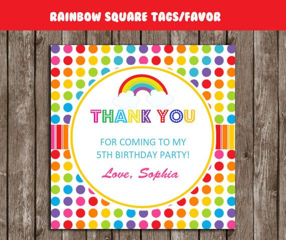 rainbow thank you tags square personalized rainbow gift favors