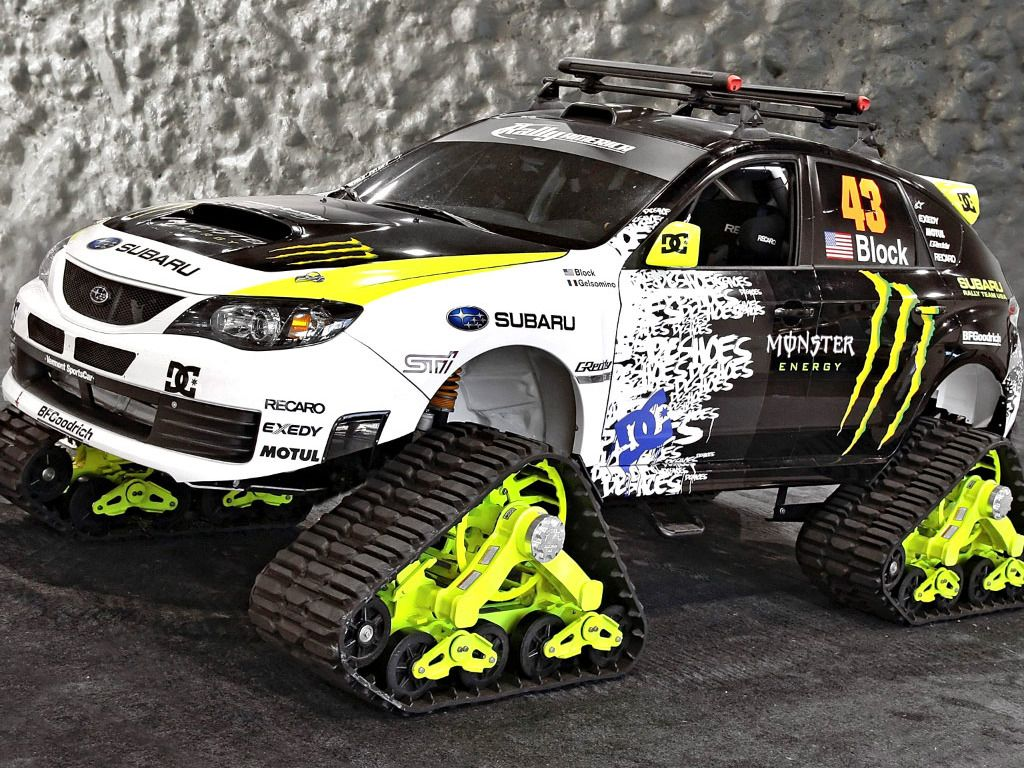 The subaru wrx sti trax is an outrageous vehicle which was displayed at the 2009 sema show in las vegas the car was built for dc shoes co founder and srt