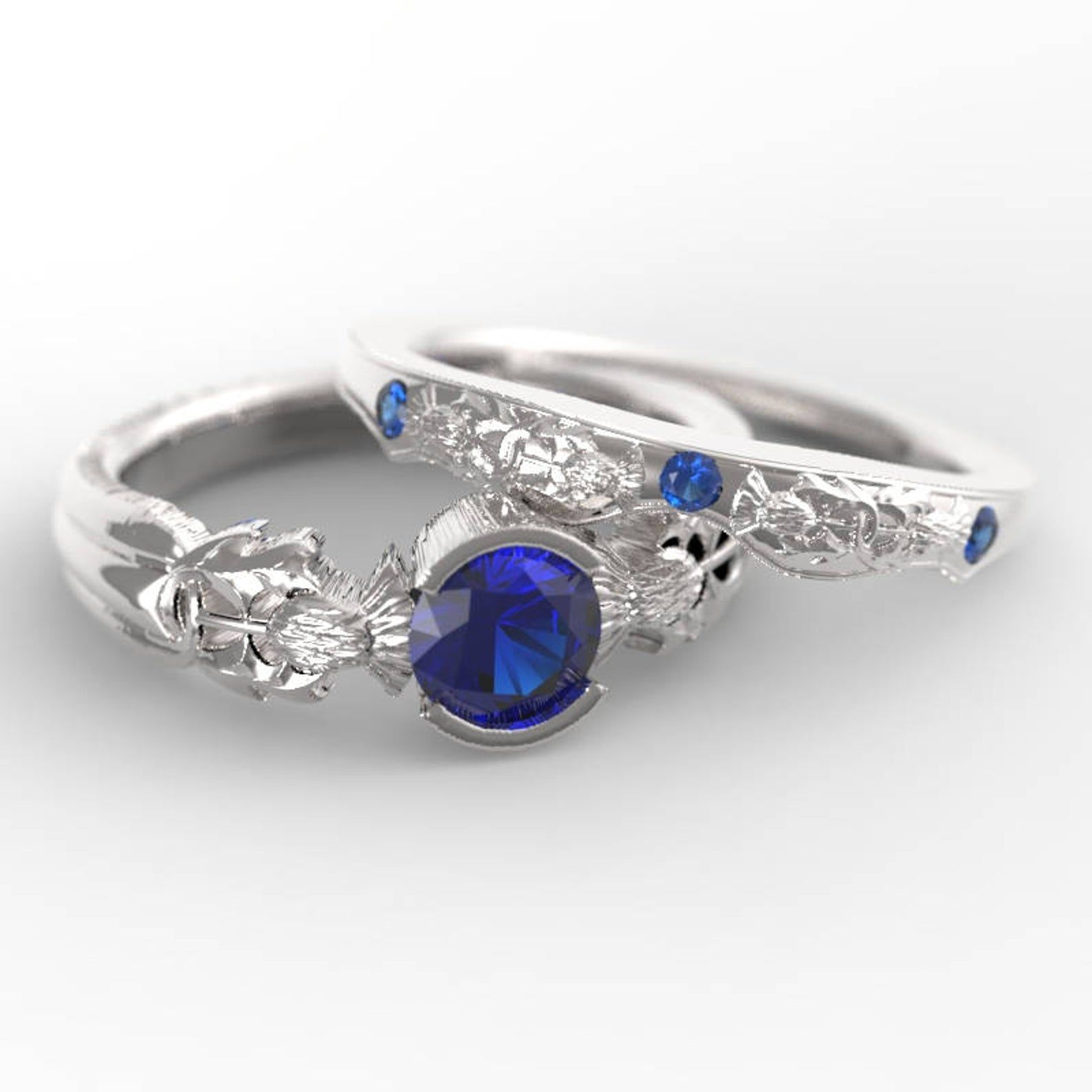 Thistle Engagement Ring Set, Sterling Silver Sapphire Ring