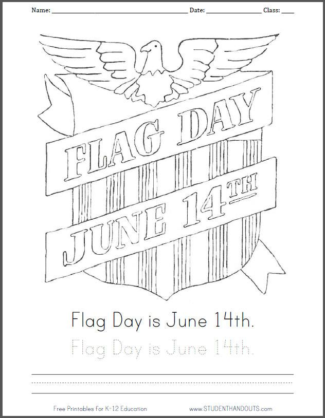 flag day is june 14th. coloring page  handwriting