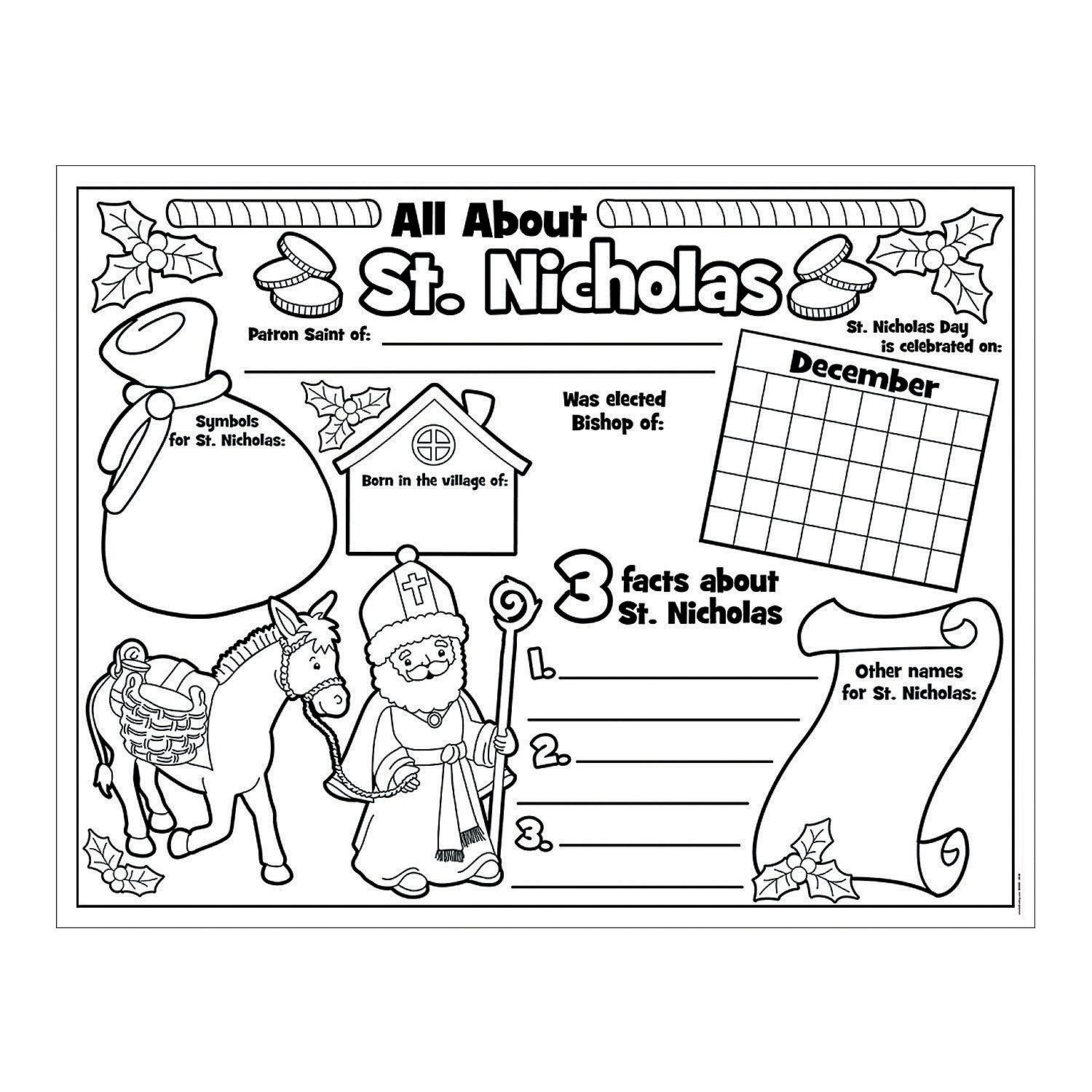 Paper Color Your Own All About St Nicholas Posters