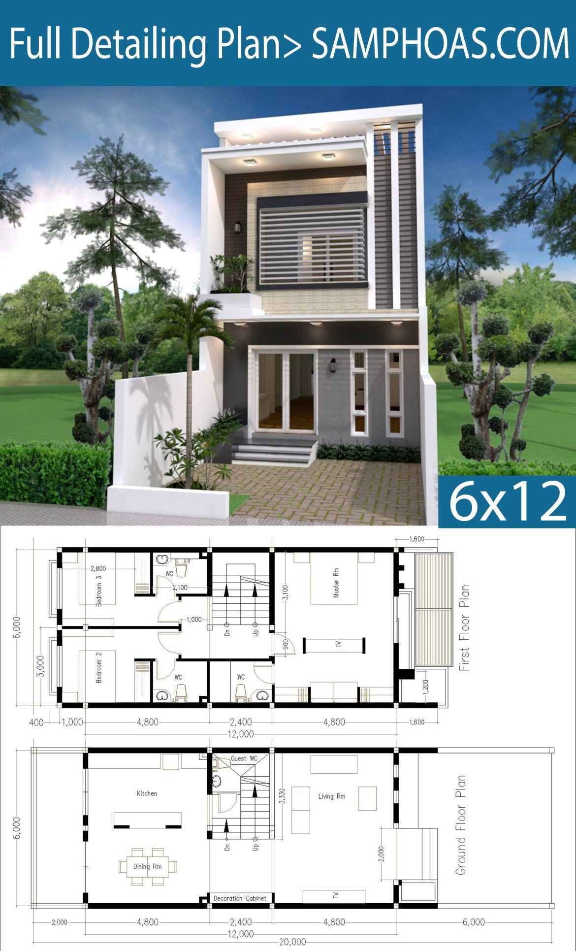 Modern Home Plan 6x12m With 3 Bedroom Samphoas Plansearch Modern House Plans Model House Plan Architectural House Plans
