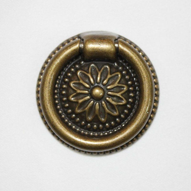 Vintage Brown Ring Drop Pulls Chest Dresser Wardrobe Cabinet Drawer Knob.  JC Q51 #