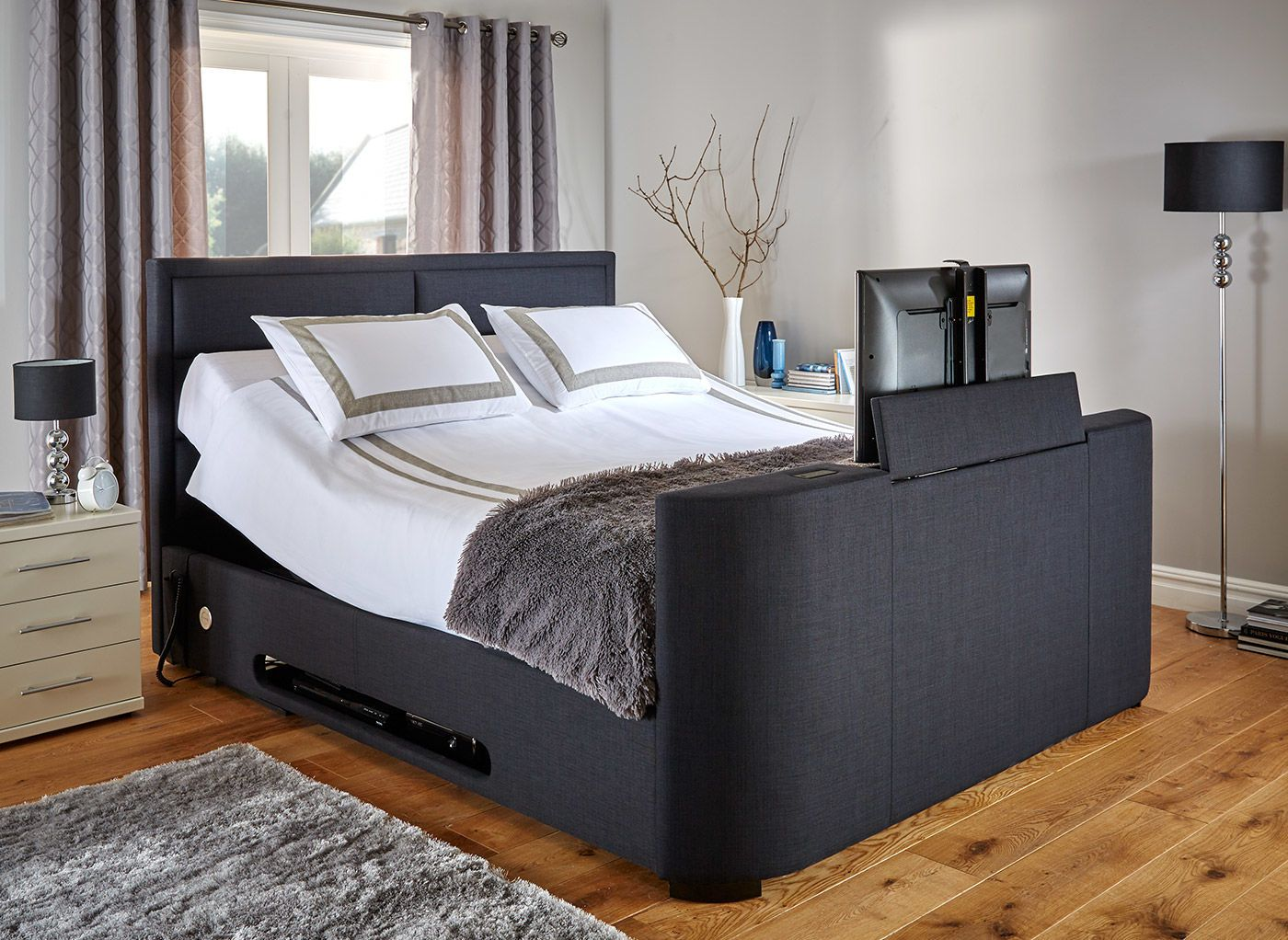 King Size Tv Bed The Truscott Tv Bed Is Both Stylish And Practical Keeping Your Tv