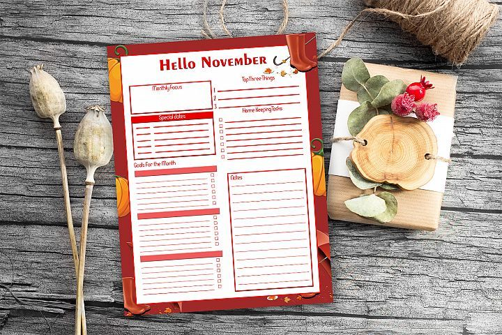 Monthly Planner, Hello November, Monthly Organizer, 50OFF #hellonovembermonth