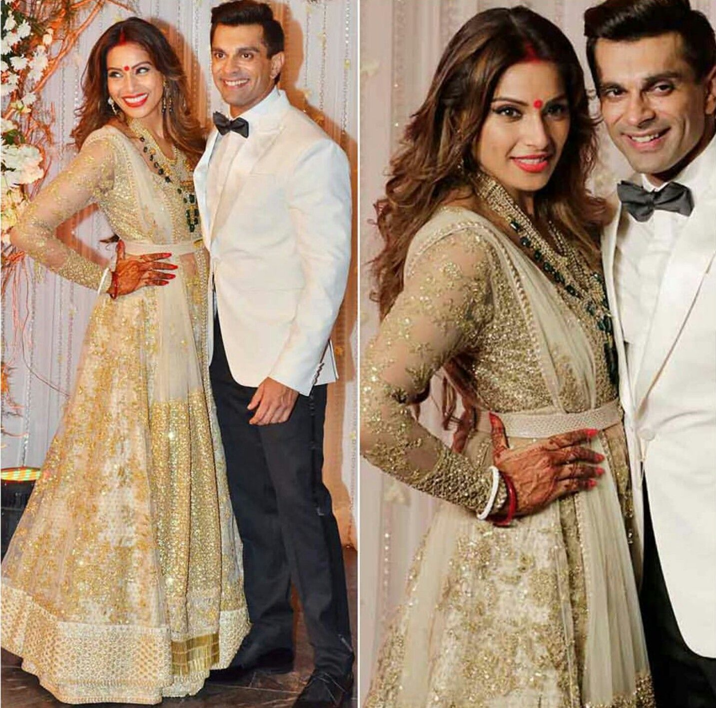 Bipasha Basu wearing off white and golden dress by Sabyasachi at her ...