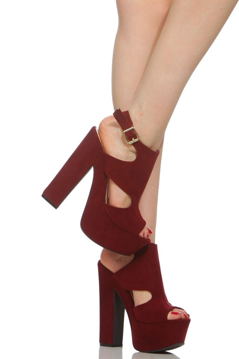 a8dda57e3d3b Plum Faux Suede Sling Back Chunky Platform Heels   Cicihot Heel Shoes  online store sales Stiletto Heel Shoes