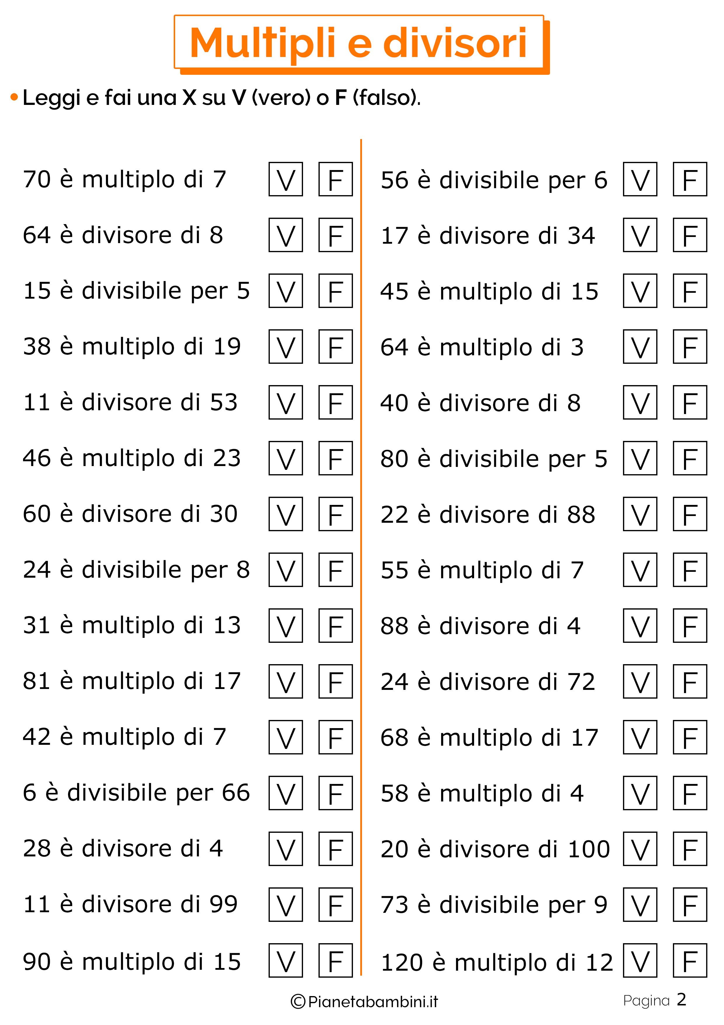 Esercizi su Multipli e Divisori per la Scuola Primaria ...