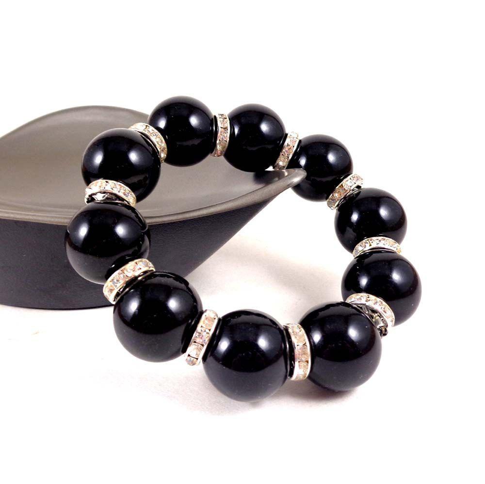 Statement Bracelet, Chunky Bracelet, Stacking Bracelet, Black, Beaded, Round Bead Bracelet, Crystal Bracelet, Big Bracelet, Stretch Bracelet by Pilboxx on Etsy
