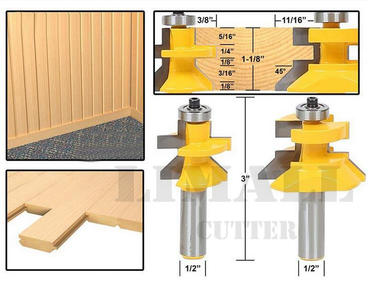 2Pcs Shank Frame Door Floor Rail /& Stile Router Bit Cutter Woodworking Tool Kit