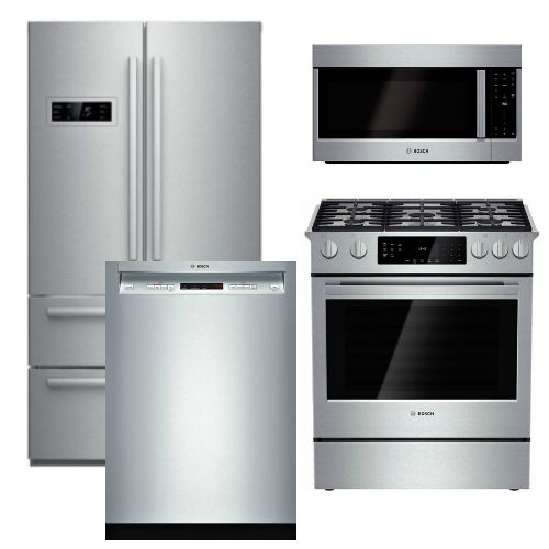 Package B2   Bosch 4 Piece Appliance Package With Counter Depth Refrigerator    Gas  Stainless