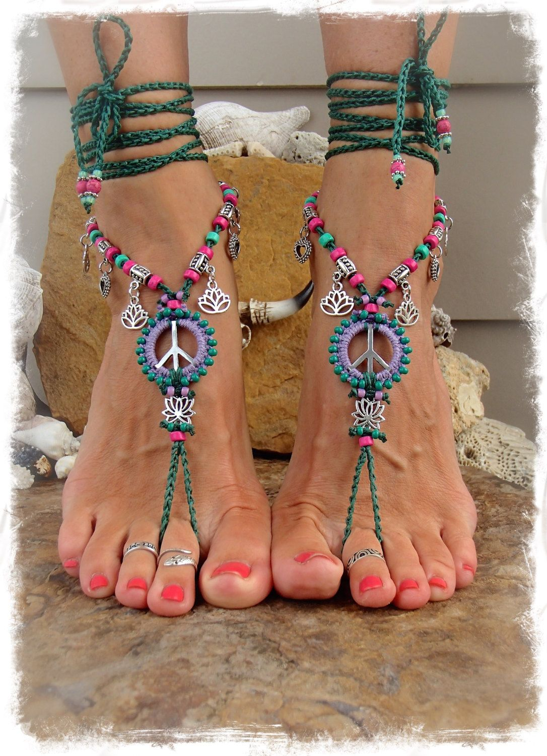 Lotus Peace Sign Barefoot Sandals Symbol Beaded Por