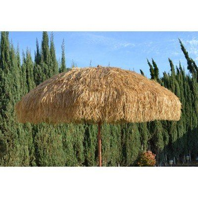 NEW 8 Wide Hawaiian Tiki Design Beach Umbrella W Fiberglass Rib  #PatioCheapFurniture