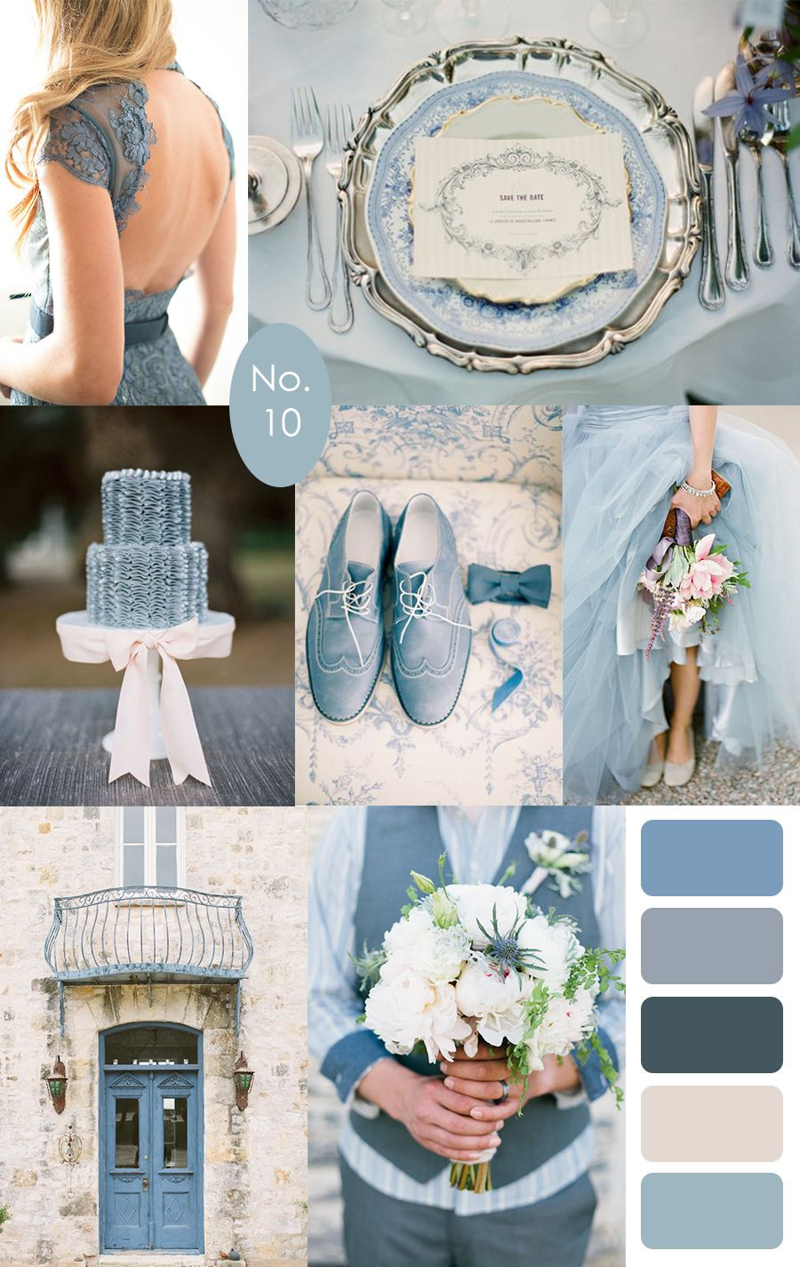 French Blue Wedding Color Palette Inspiration :: #bluewedding #blue #colorpalette | dusty blue :: pair with rich romantic flowers, and gold and silver metallics