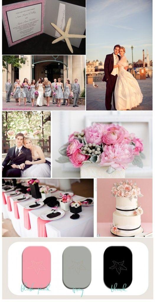 Blush Pink Gray And Black Wedding
