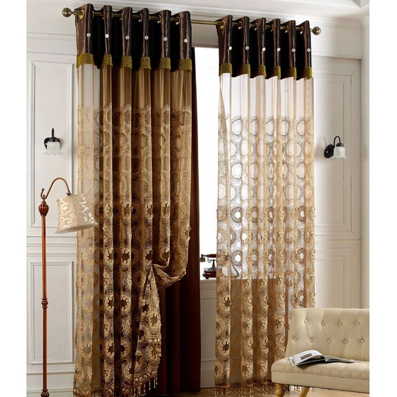 Classic Embroidery Sheer Curtain With Floral Pattern For Living Room