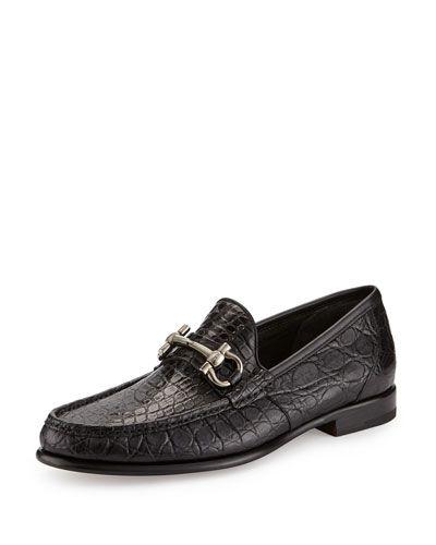 N3V30 Salvatore Ferragamo Mason 2 Crocodile Gancini Loafer, Black