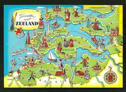Zeeland Holland Karte.Map Postcard Zeeland Coat Of Arms Netherlands Stamp Ebay