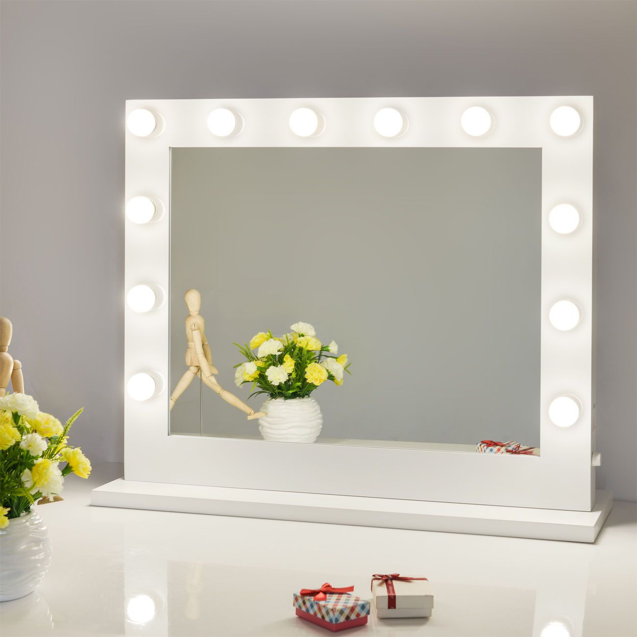 White Hollywood Makeup Vanity Mirror With Light Stage Large Beauty