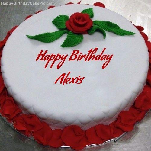Red Rose Birthday Cake For Alexis 500 500 Happy Birthday Cake