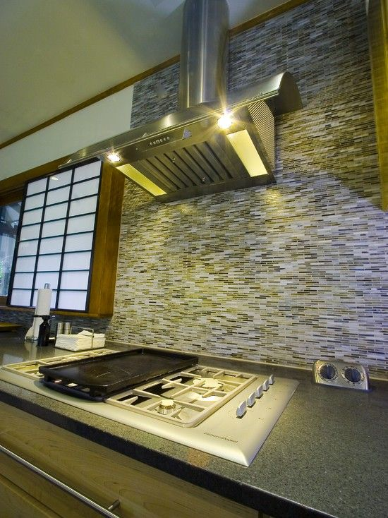 Asian Contemporary Kitchen Design with Kitchen Tile Backsplash