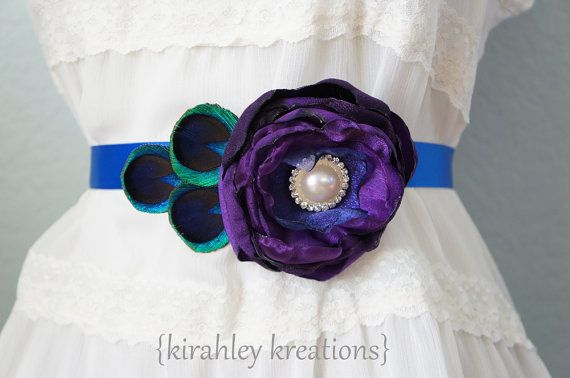 SANSA  Bridal Wedding Sash Corsage or Brooch by KirahleyKreations, $36.00