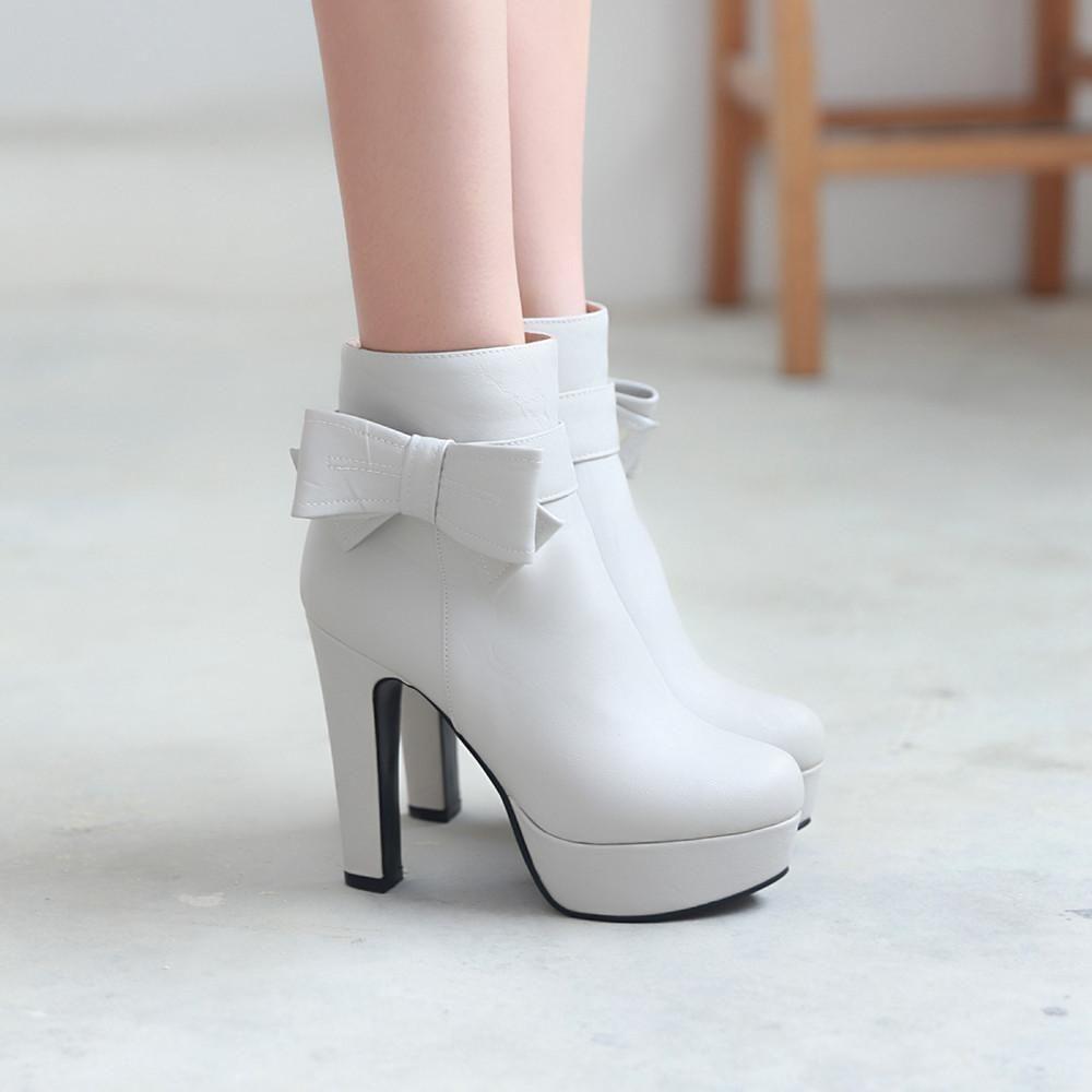 Bowtie platform short boots plus size women shoes products
