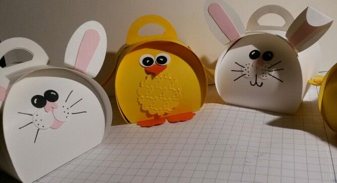 Easter bunnies & chicks using Stampin' UP! cardstocks & tools.