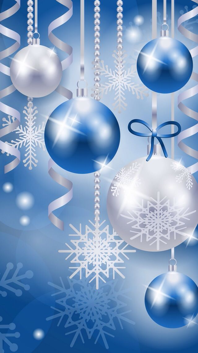 Blue Christmas Ornaments And Snow Flakes Christmas Phone Wallpaper Christmas Wallpaper Christmas Background