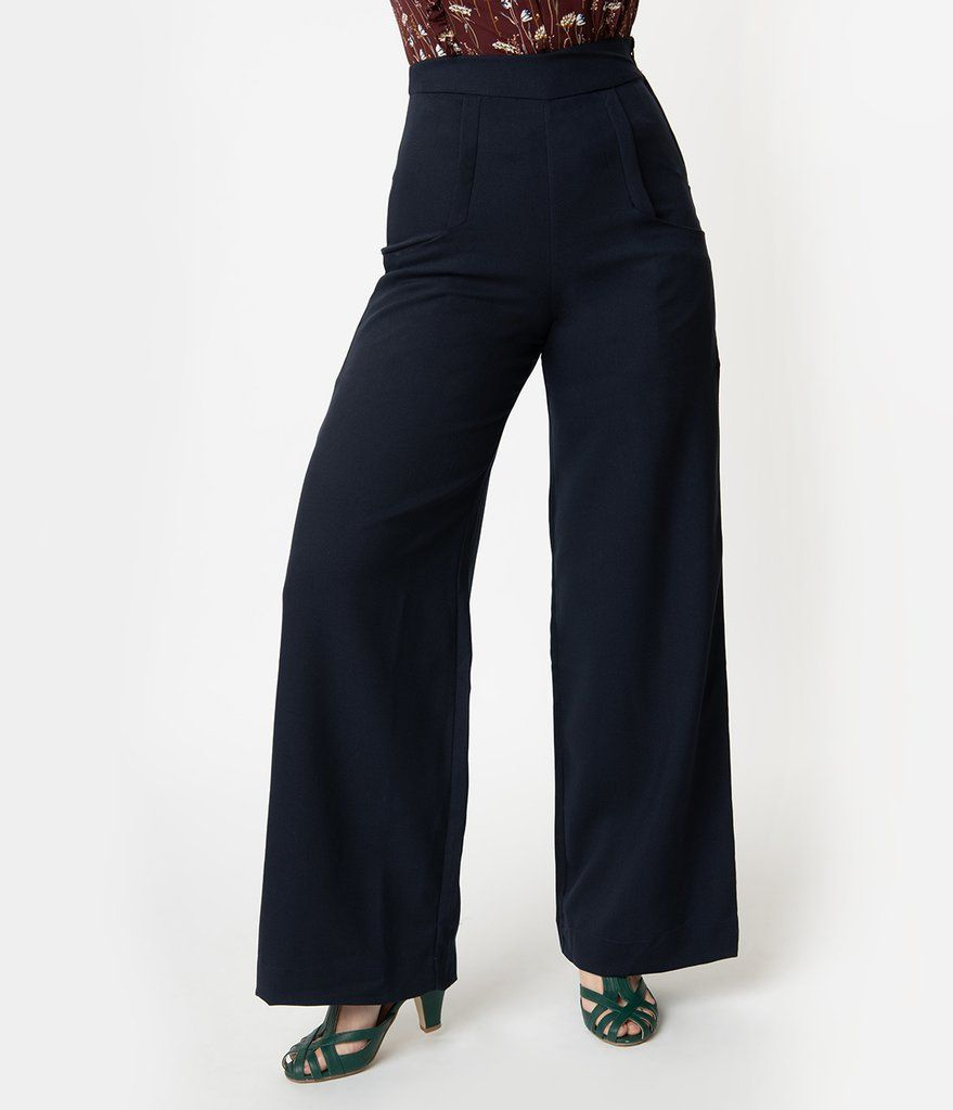 908486cbabd 1940s style black paper bag high waisted myrna pants – Artofit