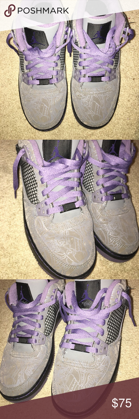 Air Jordan 4's, Womens Gray, Black & Purple. Shoe has a